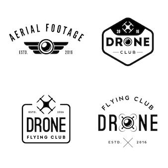 Set di etichette e distintivi di drone flying club