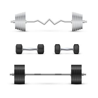 Set di manubri e bilancieri. attrezzature per fitness e bodybuilding. vettore