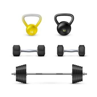 Set di manubri bilancieri e peso. attrezzature per fitness e bodybuilding. elementrs di vettore isolato su priorità bassa bianca