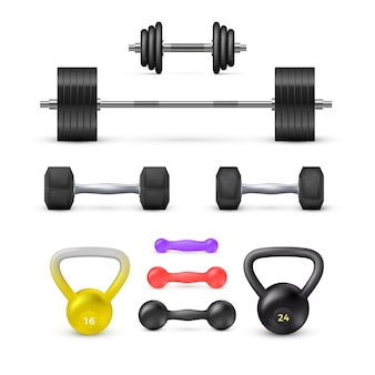 Set di manubri bilancieri e peso. attrezzature per fitness e bodybuilding. elementrs di vettore
