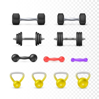 Set di manubri e peso. attrezzature per fitness e bodybuilding.