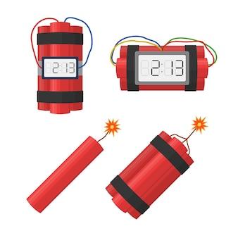 Impostare l'esplosione di bombe dinamite con timer detonare e filo, dinamite con stoppino ardente isolato su bianco