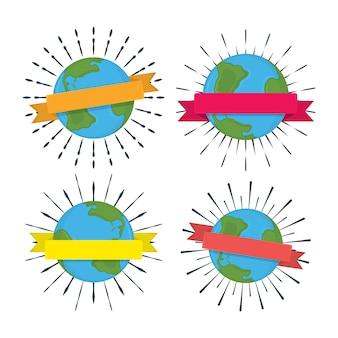 Set di globo terrestre con nastro come distintivo