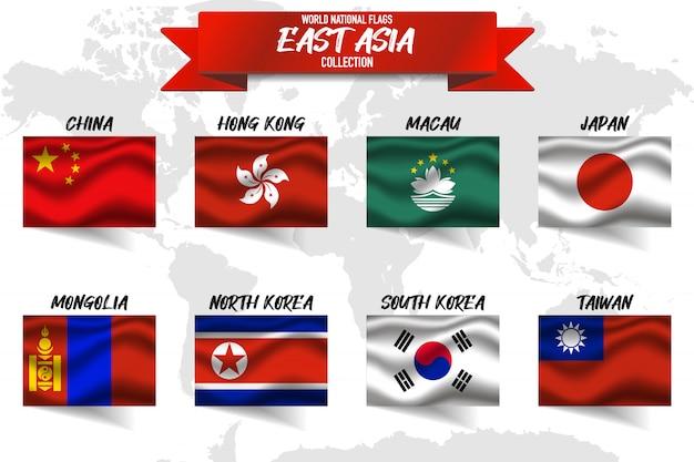 Insieme della bandiera nazionale del paese dell'asia orientale sul fondo della mappa di mondo.