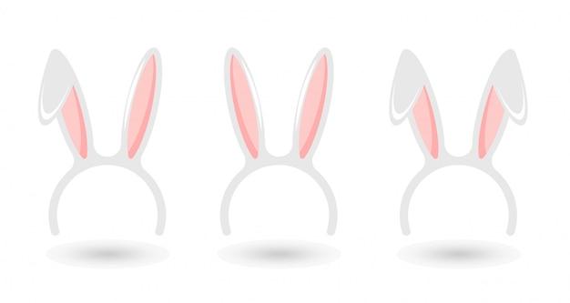 Insieme della maschera delle orecchie del coniglietto di pasqua isolato su bianco. banner di buona pasqua