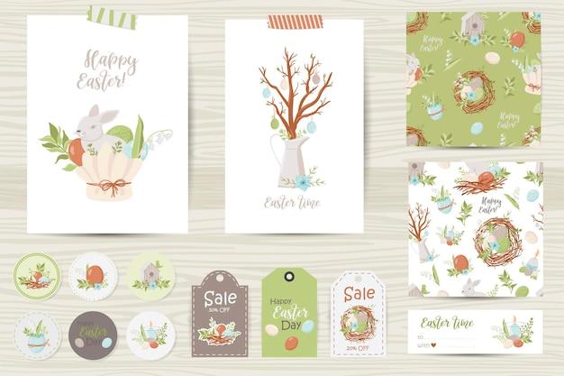 Set di cartoline di pasqua, note, adesivi, etichette, francobolli, cartellini. modelli di carte stampabili