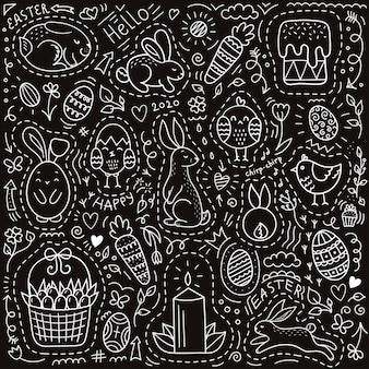Insieme di elementi di pasqua doodle su sfondo nero