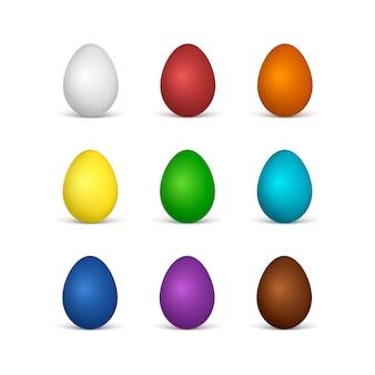 Set di uova di pasqua tutti i colori dell'arcobaleno. uova bianche e di cioccolato. illustrazione su sfondo bianco