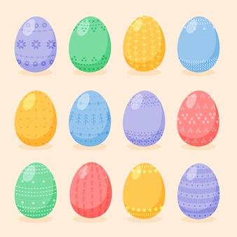 Set di uova di pasqua decorate con ornamenti e motivi di stile. raccolta di uova dipinte in stile piatto del fumetto.