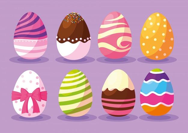 Set di uova di pasqua, buona pasqua
