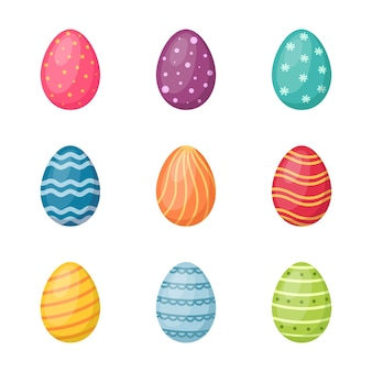 Insieme delle uova di pasqua su priorità bassa bianca. buona pasqua, illustrazione vettoriale