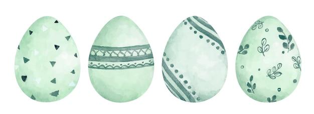 Set di uova di pasqua con diversa consistenza. vacanze di primavera. uova di pasqua felici. illustrazione dell'acquerello.