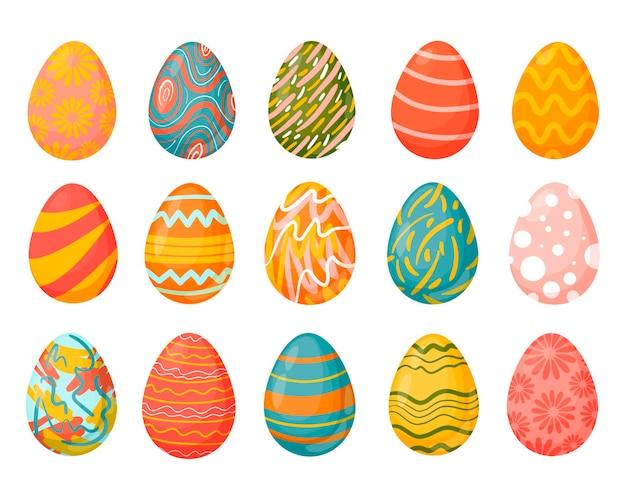 Un insieme di uova di pasqua con diverse trame.
