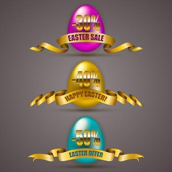 Set di uova di pasqua con nastri