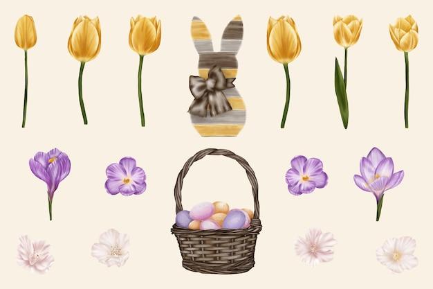 Insieme del cestino degli elementi di pasqua con le uova, i tulipani, il coniglio di pasqua
