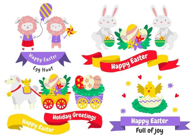 Insieme di elementi di pasqua con uova dipinte e animali. buona pasqua