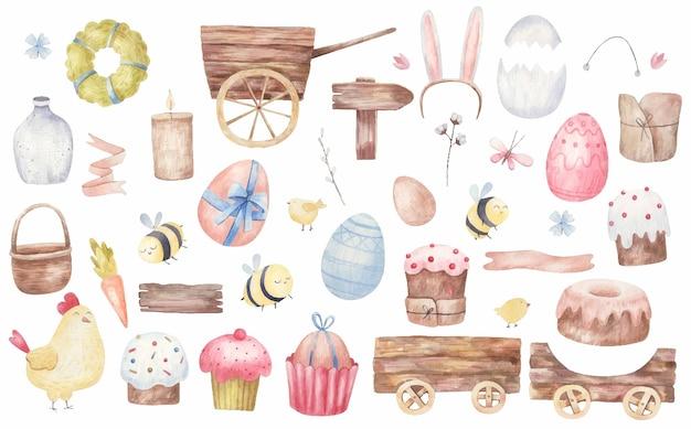 Set di articoli pasquali, dolci pasquali, carrelli, uova, api, fiori, illustrazione dell'acquerello su sfondo bianco