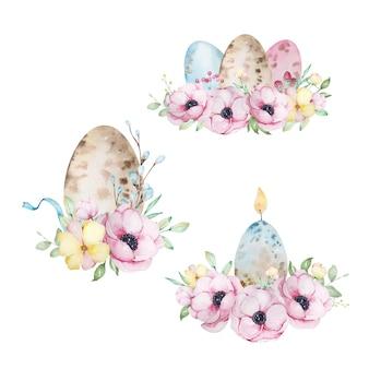 Set di composizioni acquerellate di pasqua con uova di pasqua e un mazzo di fiori e foglie di anemoni.