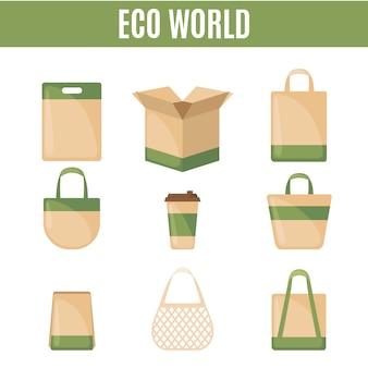 Set di icone di imballaggio eco in stile piano.