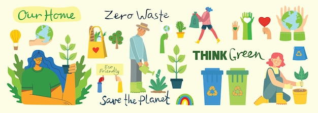 Set di eco salva collage di ambiente. persone che si prendono cura del collage del pianeta. zero sprechi, pensa verde, salva il pianeta, il nostro testo scritto a mano nel moderno design piatto