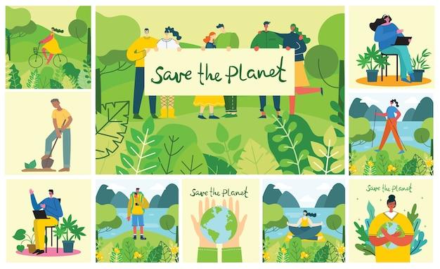 Set di immagini dell'ambiente di risparmio ecologico. persone che si prendono cura del collage del pianeta. zero sprechi, pensa verde, salva il pianeta, design piatto.