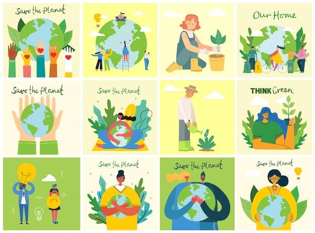 Set di immagini di ambiente di salvataggio eco. persone che si prendono cura del pianeta collage. zero sprechi, pensa in verde, salva il pianeta, il nostro testo scritto a mano