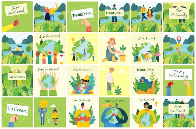 Set di immagini di ambiente di salvataggio eco. persone che si prendono cura del pianeta collage