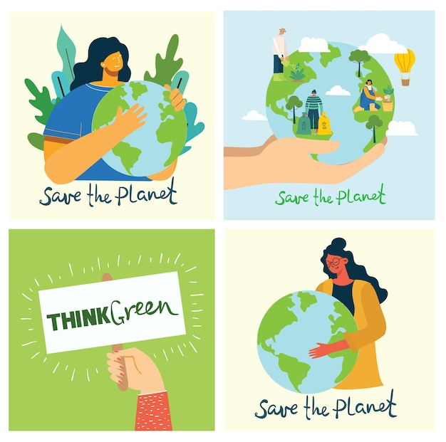 Set di immagini dell'ambiente di risparmio ecologico. persone che si prendono cura del pianeta.