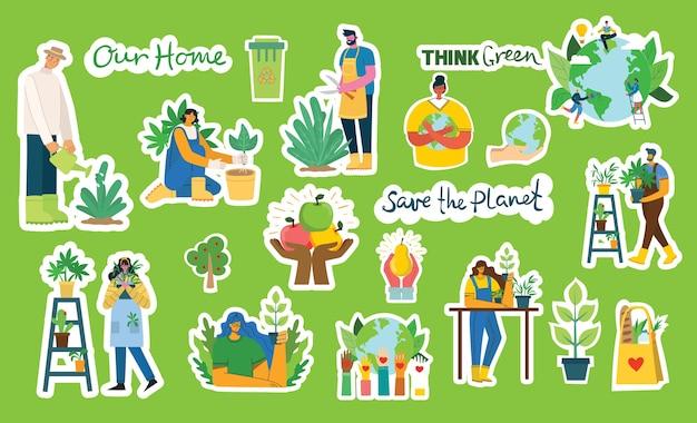 Set di immagini di adesivi per l'ambiente di risparmio ecologico. persone che si prendono cura del collage del pianeta. zero sprechi, pensa verde, salva il pianeta, il nostro testo scritto a mano nel moderno design piatto