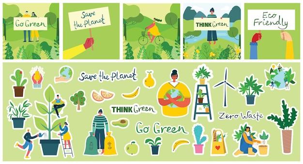 Set di immagini di adesivi per l'ambiente di risparmio ecologico.