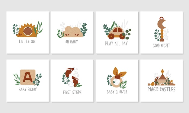 Set di giocattoli in legno eco con foglie di eucalipto, simpatiche carte per bambini. Vettore Premium