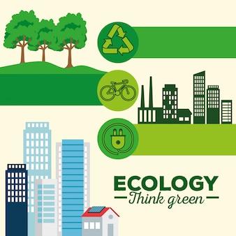 Impostare la conservazione dell'ecologia su energia solare sostenibile