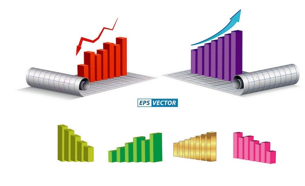 Set di grafico economico o tema di infografica economica o concetto di relazione annuale