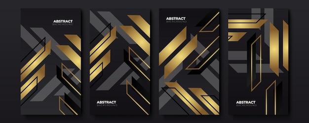 Set di modello di banner oro black friday modificabile. colore di sfondo dei social media con forma della linea a strisce. adatto per post sui social media, modelli di storie e annunci web su internet. illustrazione vettoriale