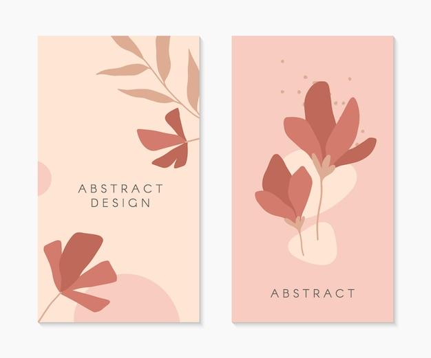 Set di modelli di storie insta modificabili con spazio di copia per il testo. layout vettoriali moderni con forme organiche disegnate a mano e fiori. design alla moda per social media marketing, post digitale, stampe, banner.