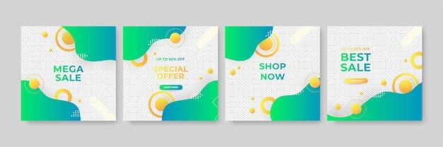 Set di modello di banner quadrato minimo modificabile. colore di sfondo verde e giallo con forma della linea a strisce. adatto per post sui social media e annunci web su internet. illustrazione vettoriale con foto college