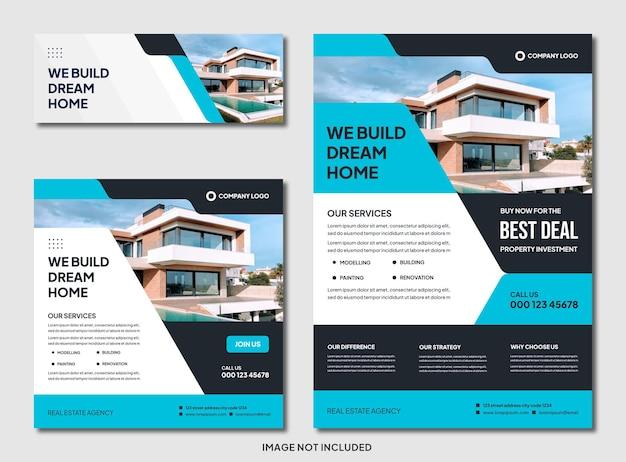 Set di brochure immobiliare moderna modificabile e modello di post instagram
