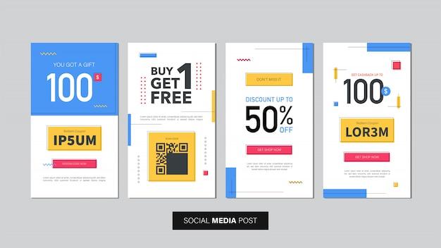 Set di modello di banner di vendita modificabile. banner mobile per post sui social media e annunci web / internet. modello di banner pubblicitario di vendita.
