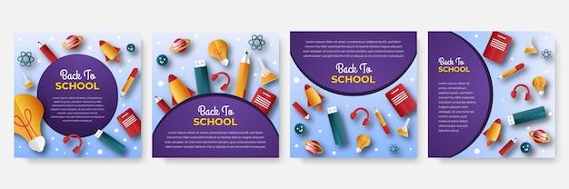 Set di modelli modificabili per post sui social media, cornice quadrata, social media, ritorno a scuola, corsi, pubblicità e promozione aziendale, design fresco