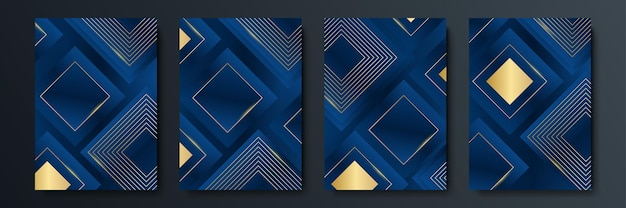 Set di modelli modificabili per social media story, post template, corporate, advertising e business, design fresco con un semplice colore blu oro
