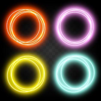 Set di anelli diversi al neon effetto