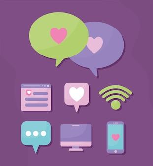 Set di otto icone multimediali