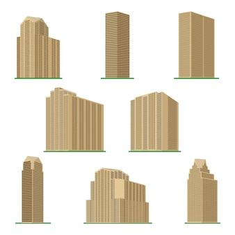Set di otto alti edifici moderni su uno sfondo bianco. vista dell'edificio dal basso. illustrazione vettoriale isometrica.