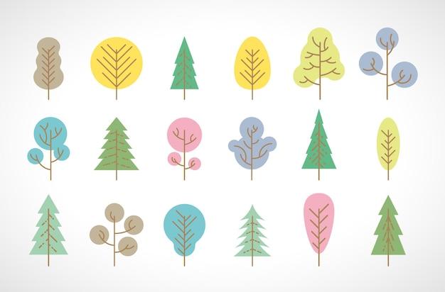Set di diciotto alberi multicolori su sfondo bianco. illustrazione vettoriale.