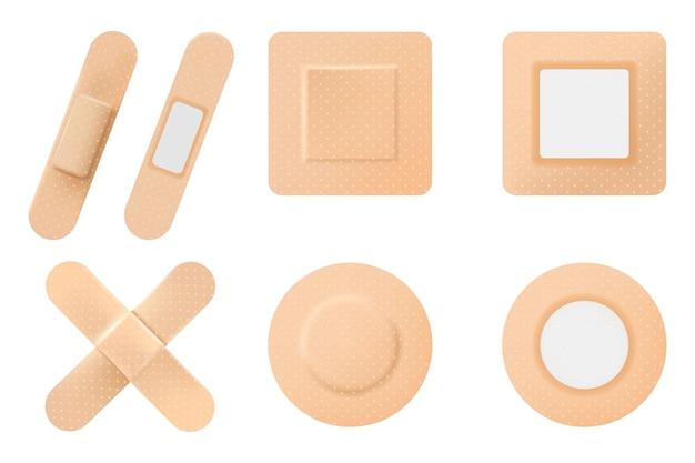 Set di cerotto medico elastico o cerotto adesivo. intonaci isolati su sfondo bianco. stuccatore ferito o cerotto bendato, realistico su sfondo bianco, vettore 3d
