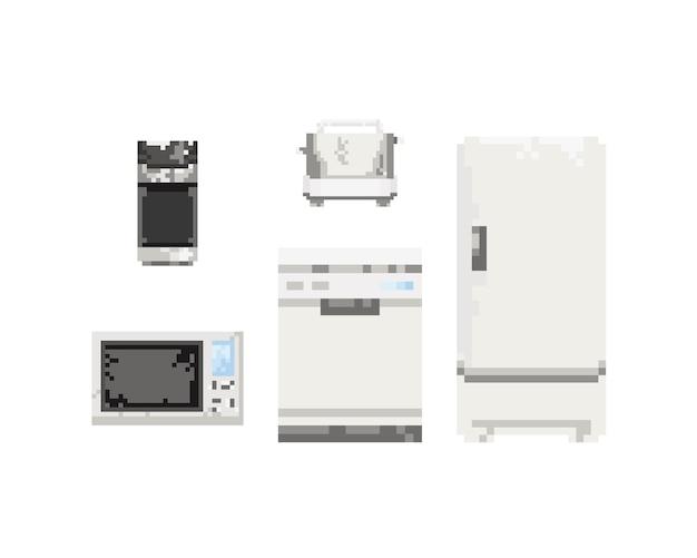 Set di apparecchi elettrici in pixel art. 8 bit art.