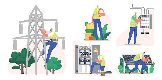 Imposta l'erogazione di energia all'utenza elettrica al consumatore. operaio elettricista installare pannelli solari, trasmissione e distribuzione di energia elettrica. carattere misura tensione. cartoon persone illustrazione vettoriale