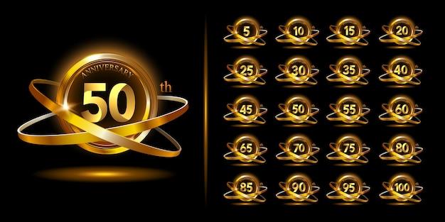 Set di logo anniversario di eleganza con anello e nastro