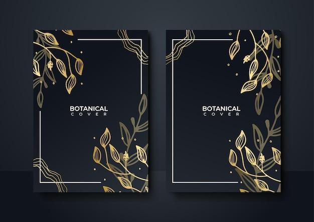 Set di elegante brochure, carta, copertina. trama di marmo nero e dorato. fondo dell'oro dell'annata. cornice geometrica. foglie di palma esotiche. arte botanica