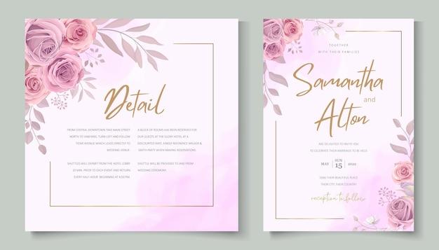 Set di eleganti inviti di nozze floreali